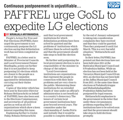 PAFFREL urge GoSL to Expedite LG elections