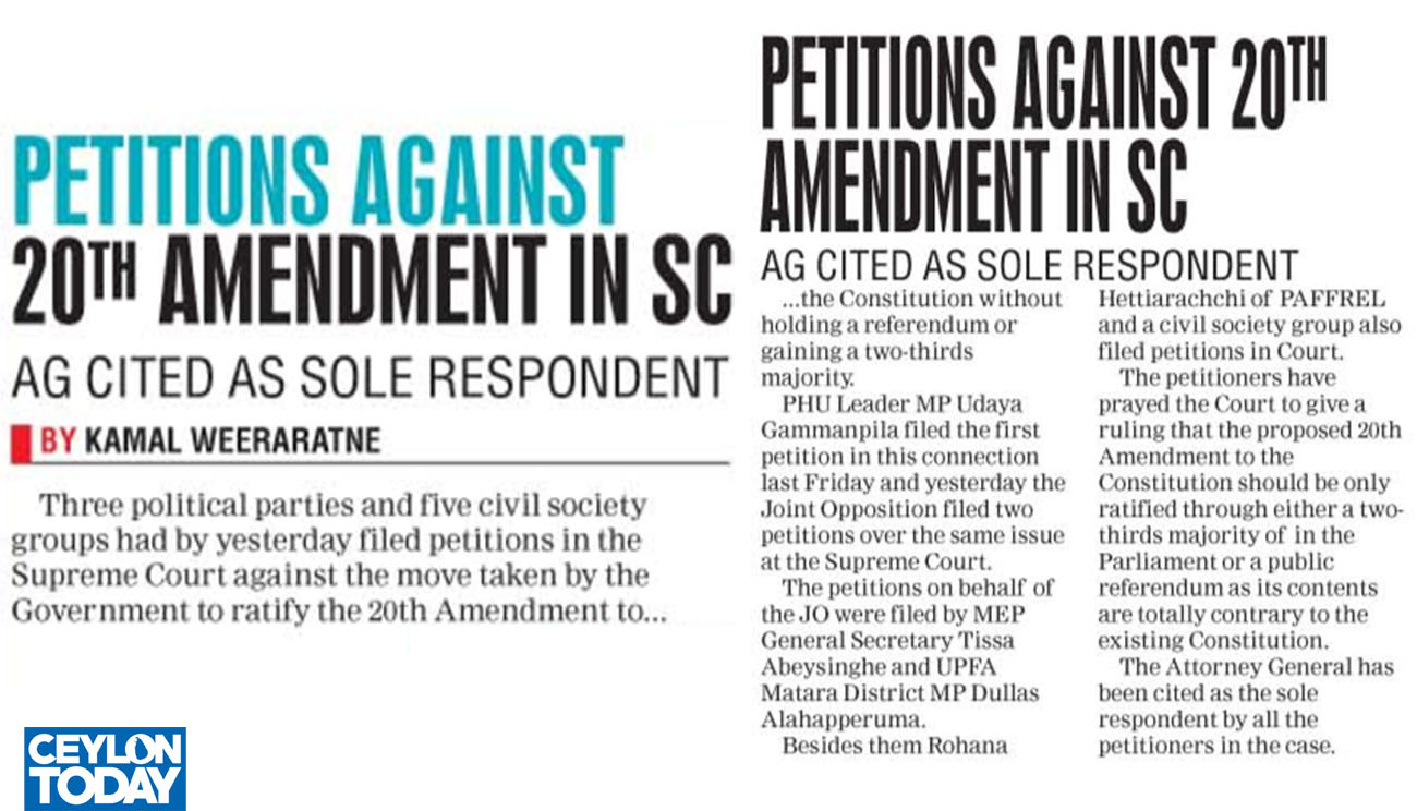 PETTIONS AGAINST 20TH AMENDMENT IN SC