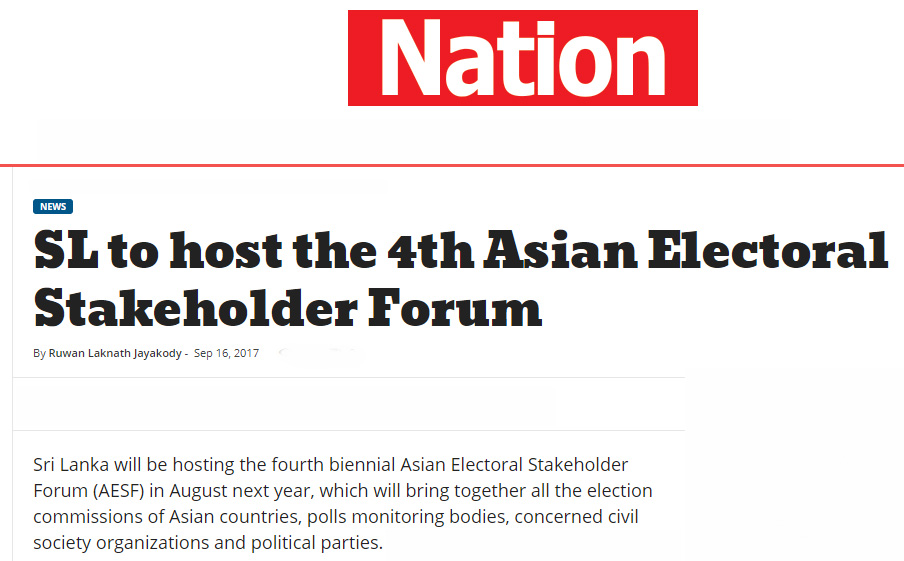 SL to host the 4th Asian Electoral Stakeholder Forum
