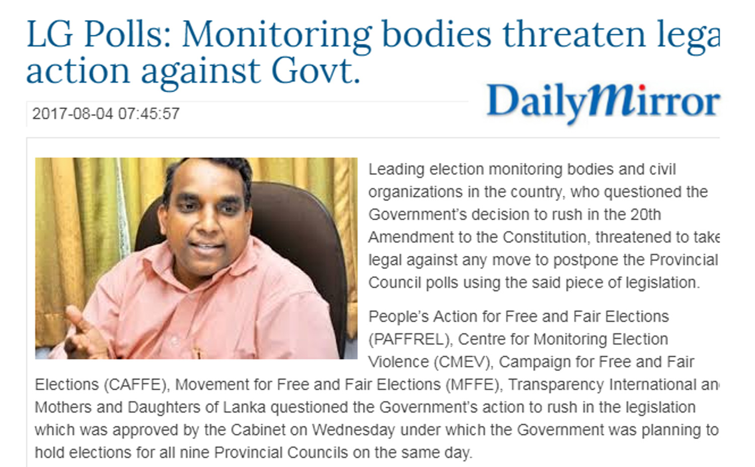 LG Polls: Monitoring bodies threaten legal action against Govt.