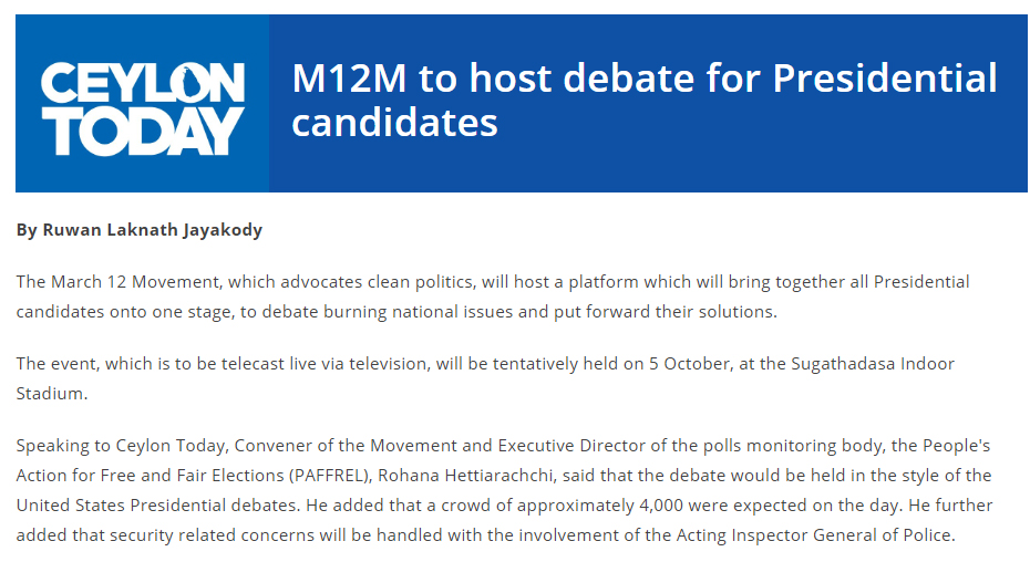 M12M to host debate for Presidential candidates