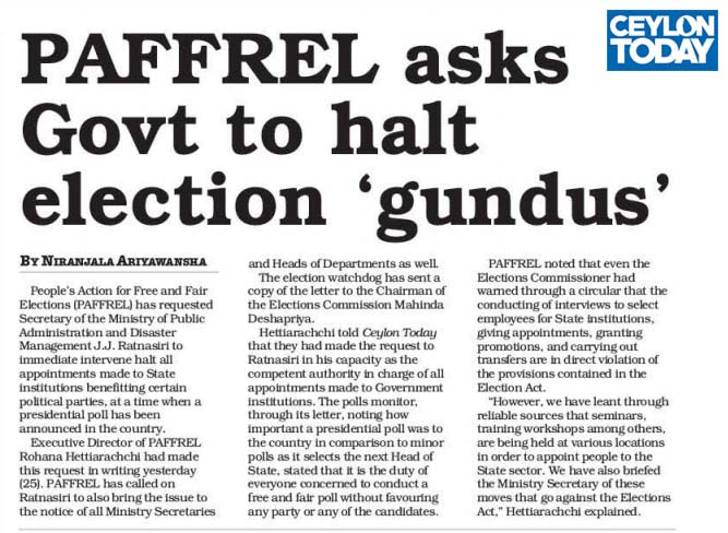 PAFFREL Asks Govt to halt election