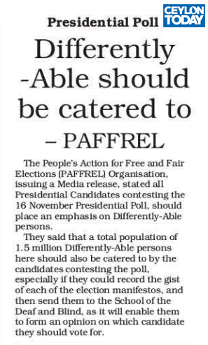 Differently able should be catered to - PAFFREL